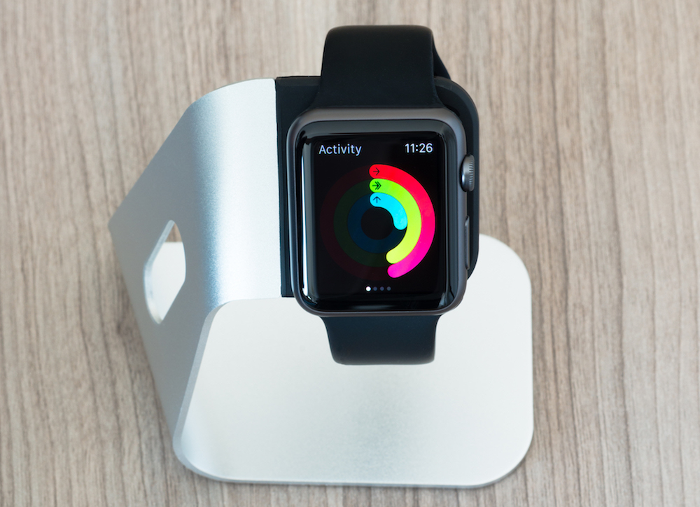Apple Watch on a Silver Stand