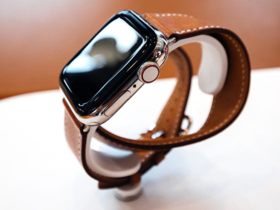 Apple Watch with Brown Leather Strap