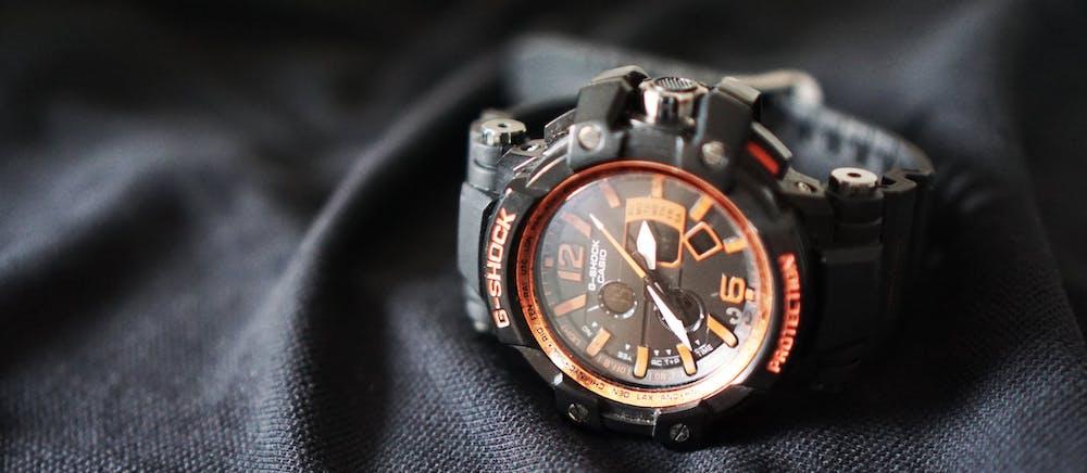Black G-Shock Watch on Black Cloth