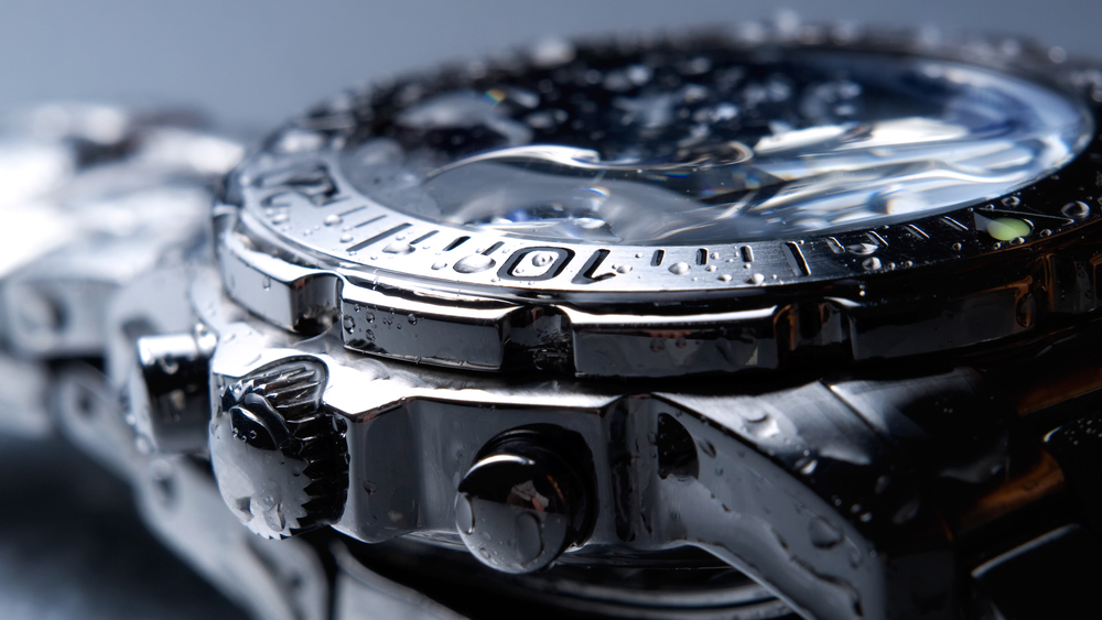 wet stainless steel watch