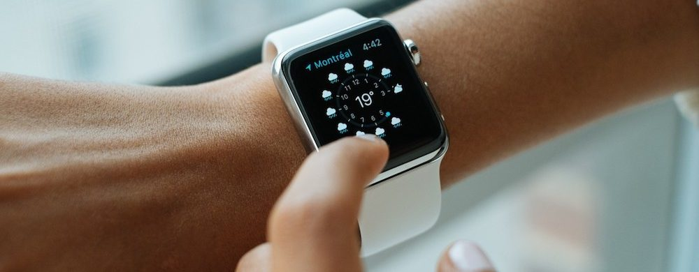 Woman Tapping Apple Watch