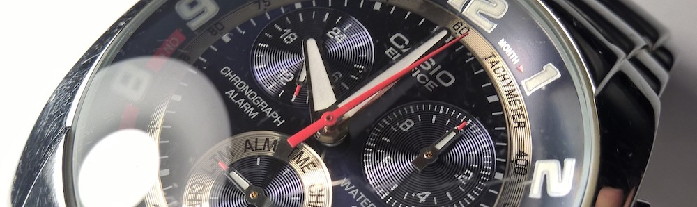 Casio-chronograph-wristwatch-closeup