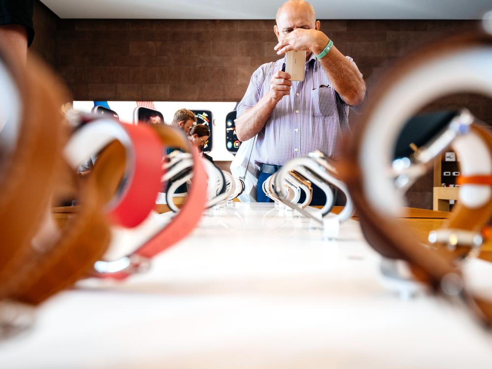 A man choosing a new watch