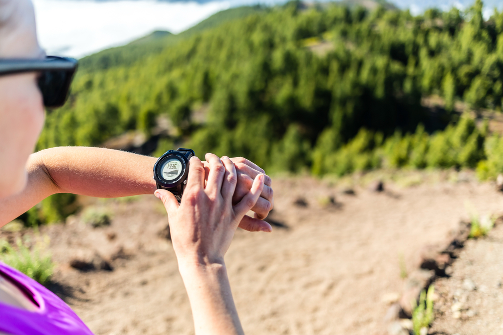 Person looking at Altimeter Watch