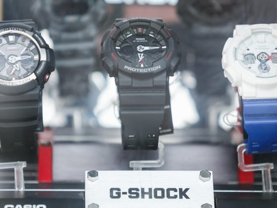 Casio G-shock wrist watches in shop