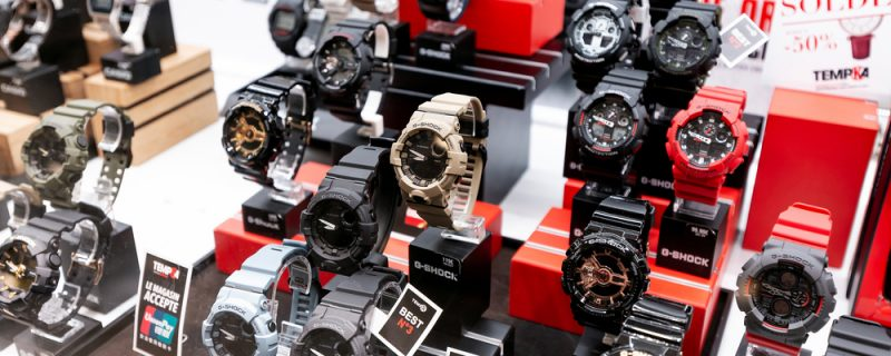 G-shock watches on display