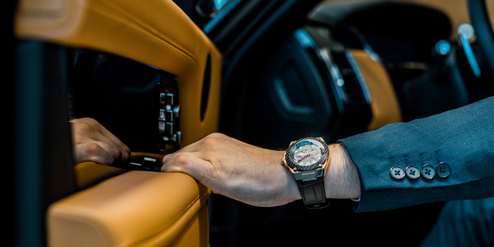 Cropped image of businessman with luxury watch