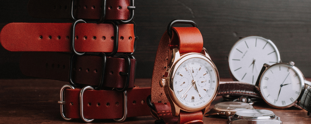 Leather belts with wristwatches