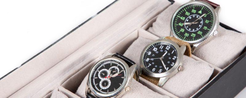 luxury wrist watch box on white background