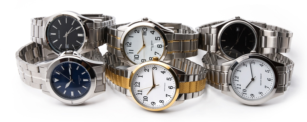 Many men's wrist watch, white background