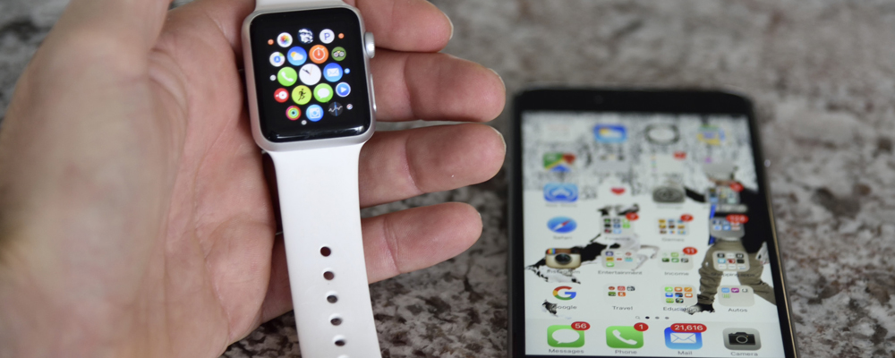 Apple watch and smartphone
