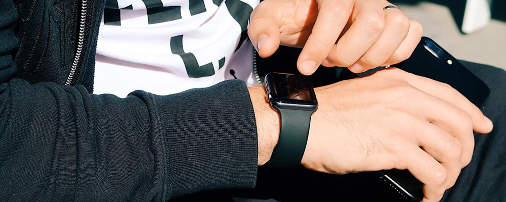 Man with apple watch