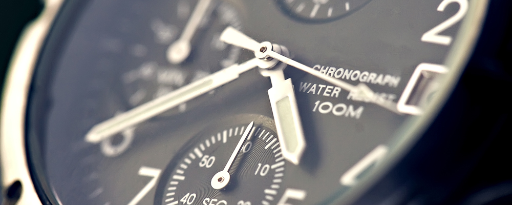 Chronograph watch closeup