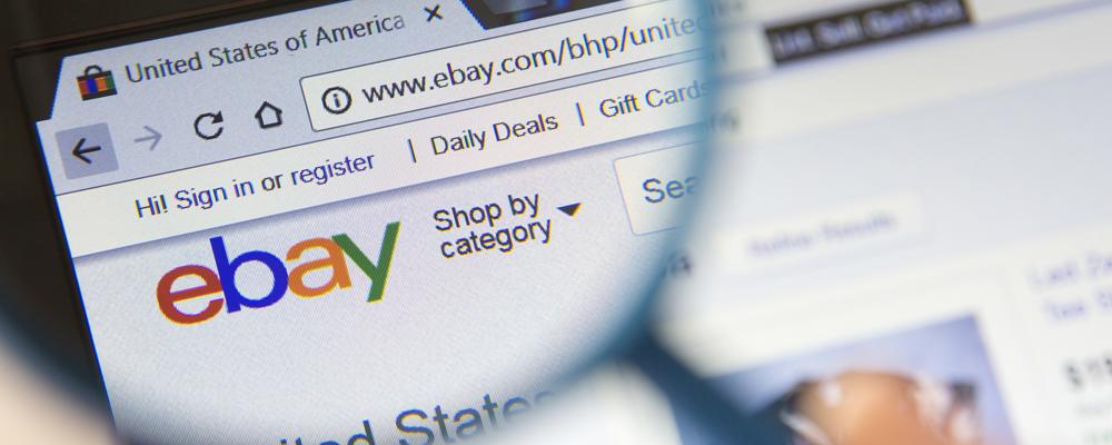 Closeup of ebay website
