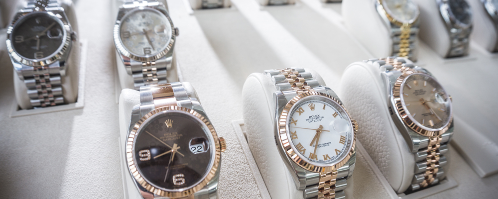 Collection of Luxury Rolex watches on a display