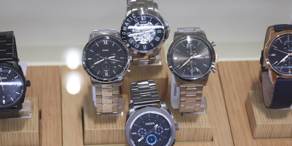Fossil watches on display