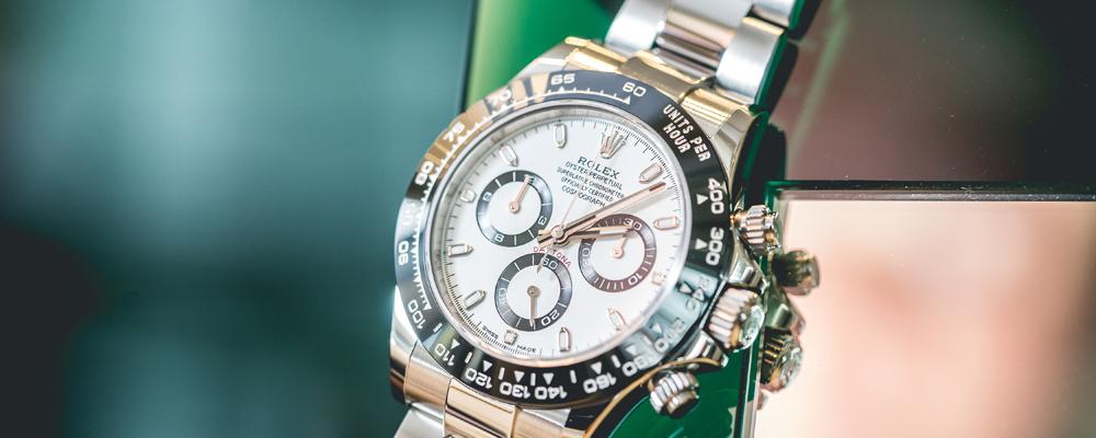 Luxury Rolex watch hanging on the mirror