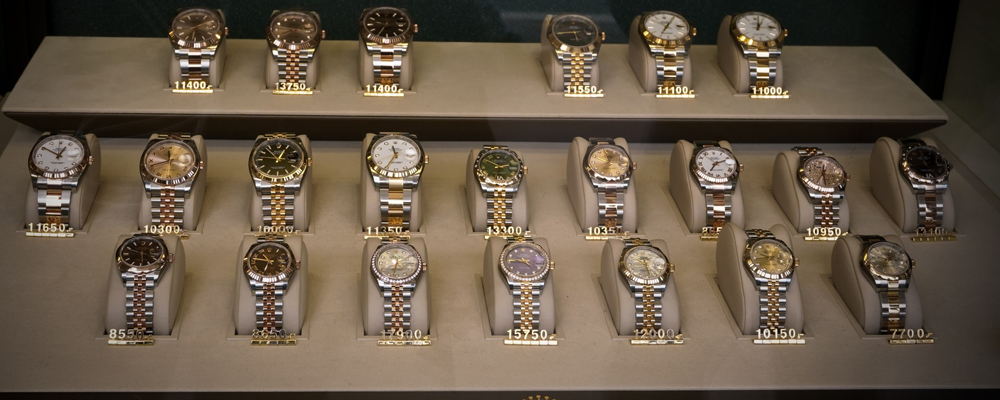 Rolex swiss watches on display