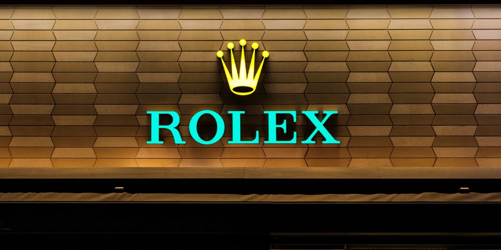 Rolex logo signage on shop