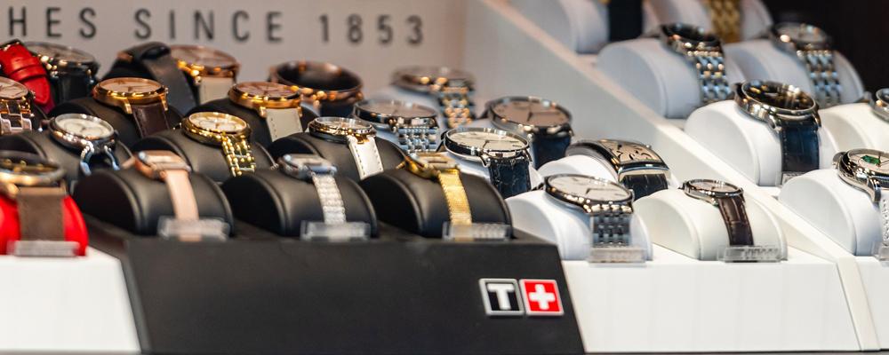 Tissot luxury watches at showcase