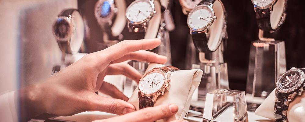 Luxury watches display