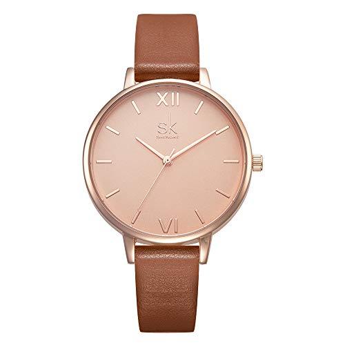 SHENGKE Leather Luxury Quartz Wristwatch