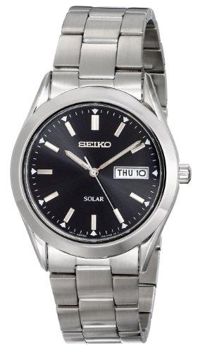 Seiko Silvertone Black Dial Solar Calendar Watch