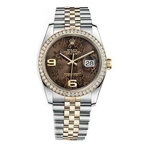 Rolex Datejust Women's Bronze Floral Dial Watch