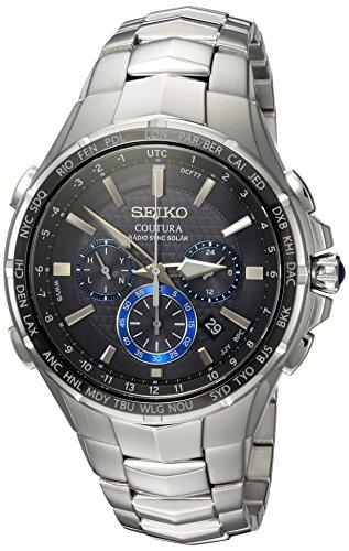 Seiko Men's Radio Sync Solar Chronograph Silvertone with Black Dial
