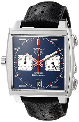 TAG Heuer Men's 'Monaco' Swiss Automatic Stainless Steel and Leather Dress Watch