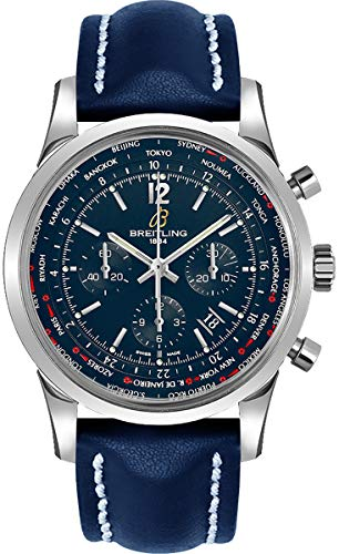 Breitling Transocean Unitime Pilot World Time Chronograph Automatic Chronometer Black Dial Men's Watch