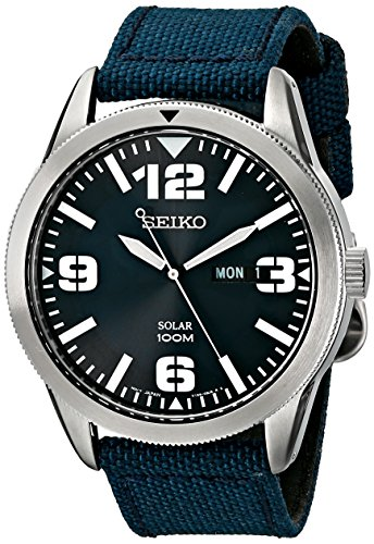 Seiko Blue Dial Blue Nylon Strap Solar Watch