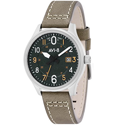 AVI-8 Men's AV-4053 Hawker Hurricane Altimeter Edition Stainless Steel Japanese-Quartz Aviator Watch