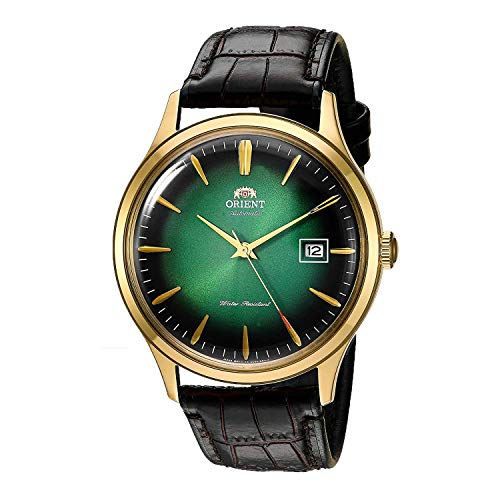 Orient' Bambino Version IV' Japanese Automatic Stainless Steel and Leather Dress Watch